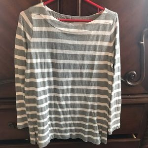 The loft gray and white striped basic 3/4 sleeves